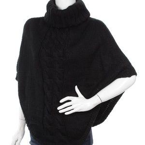 Black Rivet NWT Knit Cape with Drape Neck LG Cute